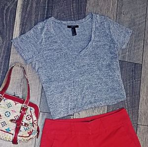 Forever 21 gray knit short sleeve top